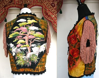 ilumina 2 * Original / Bohemia glory VEST// One of a kind embellished hippie deluxe layering item/ size M-L