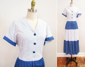 SALE // Vintage 1950s Dress | Plus Size Blue and White Polka Dot 1950s Hostess Dress | large - xl