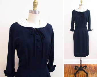 Vintage 1950s Dress | Navy Blue & White Linen Rhinstone Collar 1950s Wiggle Dress | size medium | 5D013
