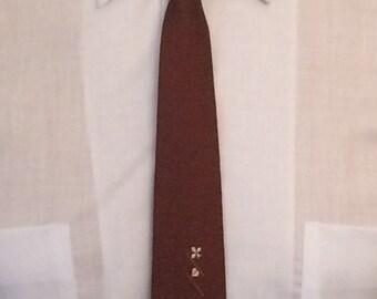 On Sale Vintage MENS Chavini brown silk skinny tie with emblems, circa 50s-60s