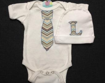 Necktie Baby Bodysuit or Gown and Matching Hat, Chevron Tie, Baby Shower Gift, Baby Boy Going Home Outfit, Newborn Photo, Tie Bodysuit
