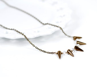 Spike Necklace Swarovski Crystal Antique Brass Chain Spike Necklace