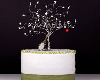 Snow White Wire Art Tree Sculpture or Wedding Cake Topper