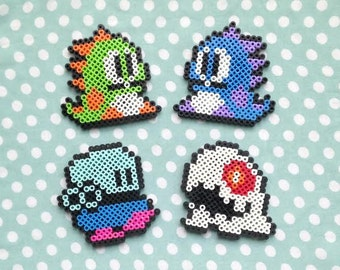 Bubble Bobble Inspired Perler Bead Video Game Magnets Set of Four