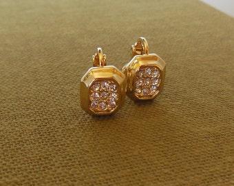 Vintage Petite Rhinestone Clip Earring Gold 60's (item 242)