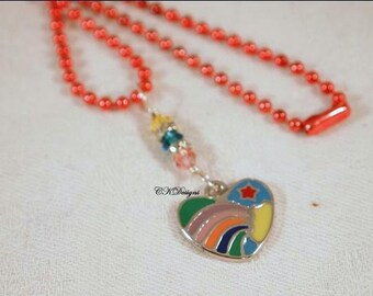 SALE Colorful Heart Charm Necklace, Swarovski Crystals, Dangle Necklace, Teen Necklace OOAK Handmade Necklace. CKDesigns.US