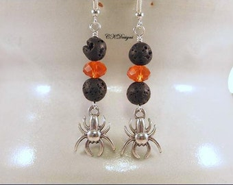 Halloween Spider Earrings, Spider Charms Earrings, Orange and Black Spider Beaded Dangle Pierce Earrings. Handmade, CKDesigns.US