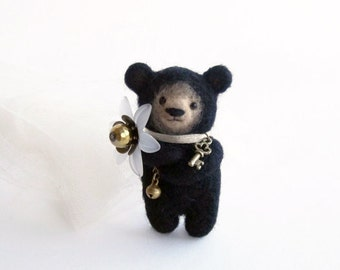 Black Bear with Big Flower, Felted Brooch, Animal Jewelry