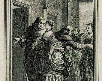 18th Century Risque Antique Engraving,  Eisen Rococo Illustration for the Tales of La Fontaine,  Franciscans of Catalonia,
