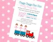 Choo Choos & Tutus Birthday Party Invitation - Printable Party Invite - Boy/Girl Birthday Party