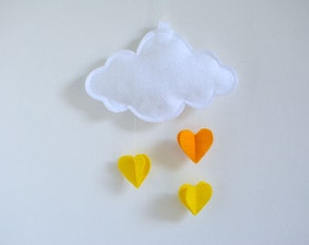 Cloud and Hearts Baby Crib Mobile - Customized Personalized Colors Available