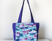 Purple Tote, Shoulder Bag with Side Pockets and Zip Closure