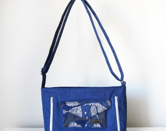Cross Body Bag for Women with Pockets, Zip and Adjustable Strap in Blue and White