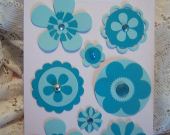 Turquoise Paper Embellishments for Cards,Scrapbook,Notecards and Tags