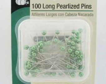 DRITZ - 100 long PEARLIZED straight PINS green pearl heads 1.5 inches long