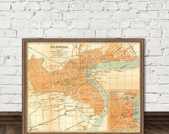 Shanghai map - Vintage map of Shanghai  -  fine reproduction