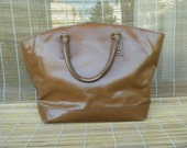 Vintage Lady's Brown Faux Leather Hand Bag Open Top Tote