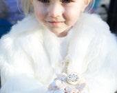 Felt Flower and Button Flower Girl Wand  - White and Cream - Custom Colours