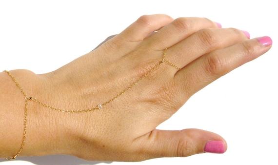 Slave Bracelet, 14kt Gold Filled, Swarovski Crystal, Body Chain, Wedding, Bridesmaid, Celebrity, Holiday Gift