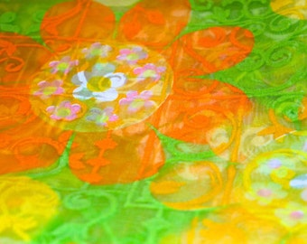 Vintage Fabric - Bright Flocked Flowers & Green Solid - Two Yards of Each - Roaring River Mills - 60's - Retro Sewing Material - Supply