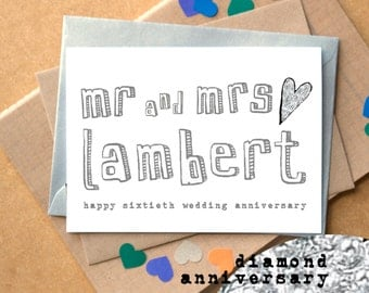 Sixtieth Anniversary Card - Diamond Anniversary - Personalised Mr and Mrs Card - 60th wedding anniversary card - 60th anniversary card