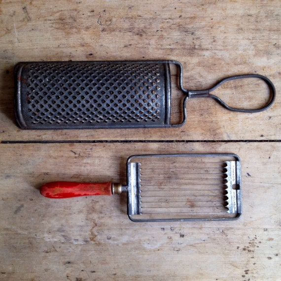 Vintage Kitchen Utensils. Large Rustic Metal Cheese Grater