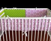 Crib Bumper - Pink Green Multi-print, Ready to Ship