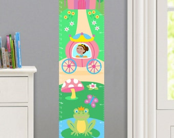 Girls Personalized Princess Wall Decal Growth Chart, Girls Princess Wall Decor, Dark Skin, Peel and Stick Growth Chart, Reposition-able