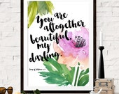 Bible Verse Art Print, PRINTABLE Art Wall Decor, Song of Solomon 4:7, You Are Altogether Beautiful My Darling, Scripture, INSTANT DOWNLOAD