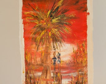 70s Oil Painting - 'Water past the Palm Tree' - African Home Decor - Zambian Folk Art