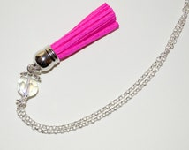 Long Boho Necklace, Hot Pink Tassel Necklace, Boho Fringe Jewelry, Tassel Pendant, Layering Necklace, Hot Pink Necklace, Festival Necklace