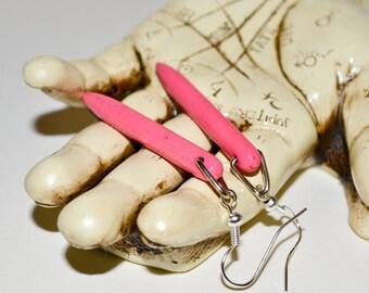 Pink Spike Earrings, Faux Howlite Dagger Earrings, Hot Pink Drop Earrings, Pink Point Earrings, Faux Howlite Dangle Earrings, Hot Pink Spike