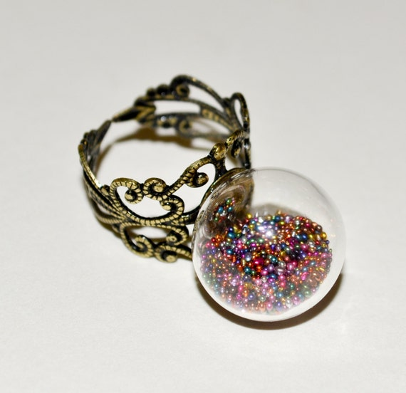 Glass Ball Ring, Statement Ring, Glass Globe Ring, Multicolour Jewelry, Glass Ring, Adjustable Ring, Rainbow Jewelry, Glass Jewelry