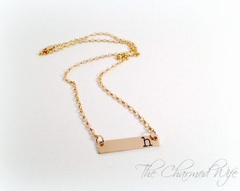 Gold Initial Bar Necklace - Gold Initial Necklace - Hand Stamped Necklace -  Bar Necklace - Personalized Bar Necklace - The Charmed Wife