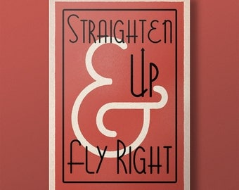 Lindy Lyrics - Straighten Up & Fly Right - Retro Style Swing Poster - A3+ Unframed