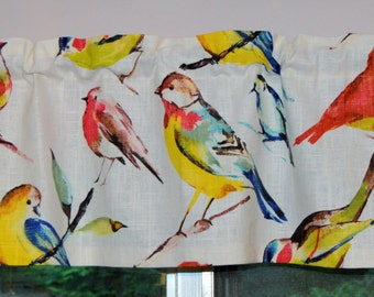 Valance . Richloom Birdwatcher Summer .  Bird Valance . Bird Curtain . Handmade by PrettyLittleValances