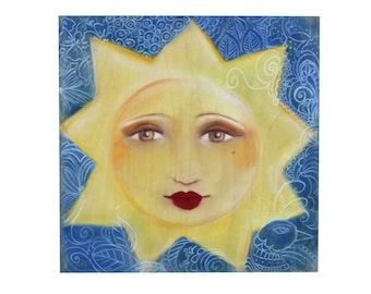 """Sun Painting for Nursery or Child's Room Pastels on Wood """"Asia"""" The Rising Sun"""