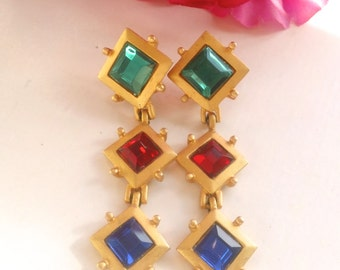 Bejeweled Drop Dangle Earrings Fruit Salad Vintage Fun Fashion Glamour Jewelry