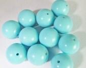 20 Vintage 12mm Robin's Egg Blue Lucite Beads Bd1774