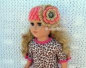 "Crochet Pattern 123 - Crochet Headband Pattern for 18 inch Doll - Crochet Patterns - 18"" Doll Crochet Pattern - American Girl Dolls Outfit"