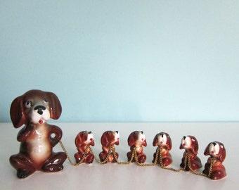 Hound Dog Figurine -  Puppy Figurine - Puppies - Pups - Ries