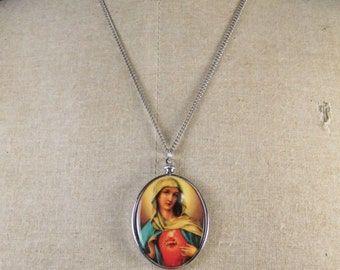 """Vintage Religious German Plastic Virgin Mary Immaculate Heart Necklace 18"""" Chain"""