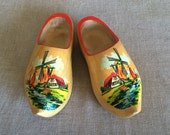 Vintage 60s 70s Dutch Wooden Shoes Hand Carved with Holland Windmill Landscape Design Great Home Decor Display or Children's Costume Shoes