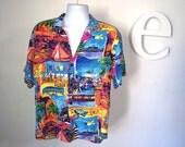 Men's vintage 1980s Shirt Balboa Island Newport Beach Orange County California Punk New Wave Gay Retro Photo Print Camp Shirt Hawaiian Shirt
