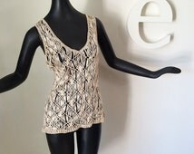 Vintage Macrame Top Groovy Hippie Boho Tank Top Hippy Festival or Beach Pool Swimsuit Cover Up Hand Knotted OOAK Bohemian Tunic Size Medium