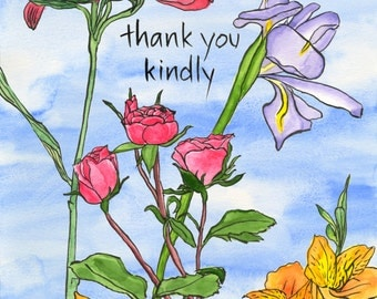 187. thank you card - shower of flowers - any 6 designs