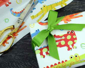 Crocodile Alligator Children's Wrapping Paper, 2 Feet x 10 Feet