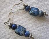lapis azuli earrings,  blue lapis gemstone jewelry, beaded jewelry, short blue stone earrings