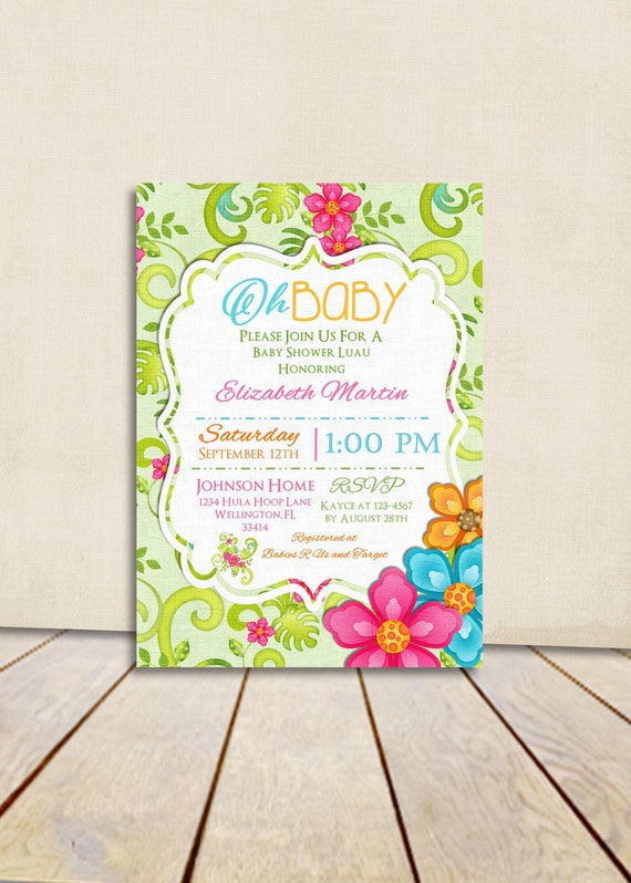 Oh Baby Luau Baby Shower Invitation
