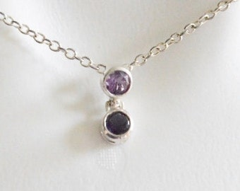 SALE Vintage Sterling Silver Amethyst and Sapphire Style Simple Round Cut Pendant Necklace